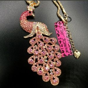 New Betesy Johnson Pink peacock necklace